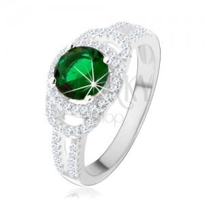 925 ezüst gyűrű, kettős csillogó kontúr, zöld kerek cirkónia