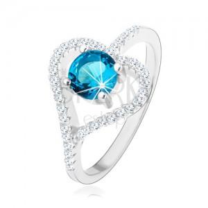 Eljegyzési gyűrű 925 ezüstből, cirkóniás szív körvonal, kék kő