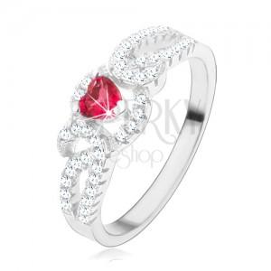 925 ezüst gyűrű, tekert cirkóniás vonalak, piros szívecskés kő