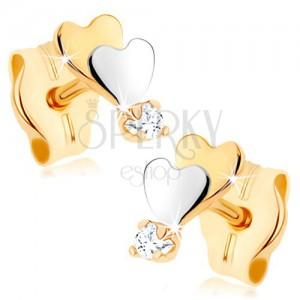 375 arany fülbevaló - kicsi, lapos szívecske, tükörfény, átlátszó cirkónia