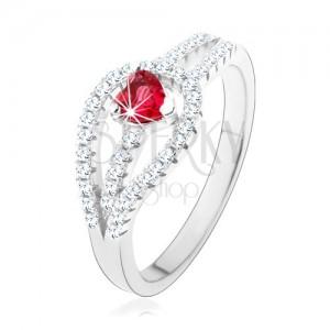 925 ezüst gyűrű, szétágazó cirkonköves szárak, piros szív