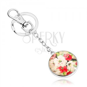 Kulcstartó kaboson stílusban, domború üveg, fehér és piros virágok