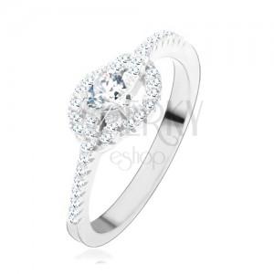 Eljegyzési gyűrű 925 ezüstből, átlátszó cirkóniás szív, tekert vonalak