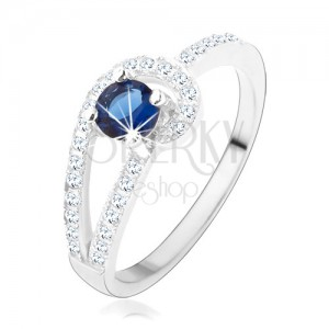 925 ezüst gyűrű, csillogó átlátszó vonal, kerek kék cirkónia