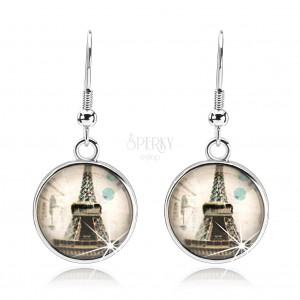 Fülbevaló átlátszó kidomborodó üveggel, Eiffel torony, bézs alap