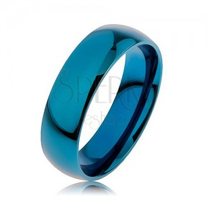 Gyűrű sebészeti acélból kék színben, titániummal anodizált felülettel, 6 mm