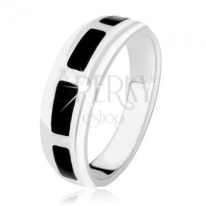 Gyűrű 925 ezüstből, téglalapok fekete ónixból, magas fény