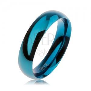 Kék acél karikagyűrű, sima domború felület, magasfényű, 5 mm