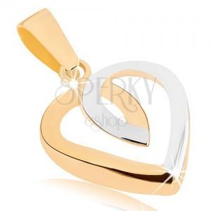 Medál 9K aranyból - egyenletes szív kontúr, kétszínű kivitelezés