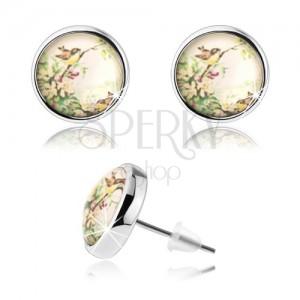 Kaboson fülbevaló átlátszó domború fénymázzal, két kicsi madárka, virágok