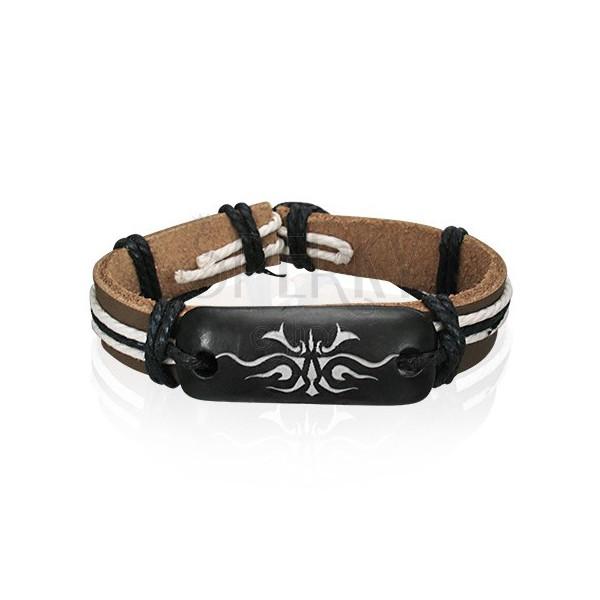 Bőr csuklópánt - barna, fehér törzsi szimbólum