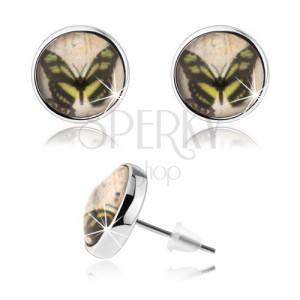 Cabochon fülbevaló, átlátszó fénymáz, pillangó, stekkerek