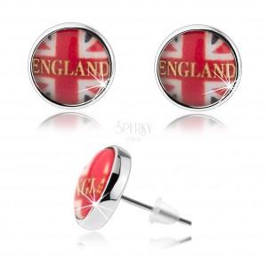 Fülbevaló kaboson stílusban, britt zászló, felirat, stekkerek