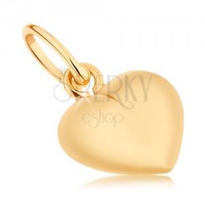 Medál 9K sárga aranyból - kétoldalas kidomborodó szívecske, magas fény