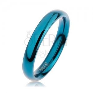 Kék acél gyűrű, lekerekített sima felület magas fénnyel, 3 mm
