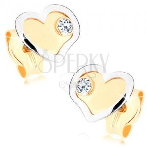 375 arany fülbevaló - kétszínű szívecske fényes-matt kivitelezésben, cirkónia