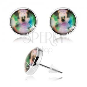 Bedugós cabochon fülbevaló, átlátszó fénymáz, színes Minnie Mouse kép