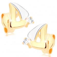Fülbevaló 9K aranyból - kétszínű háromszög körvonal, átlátszó cirkónia