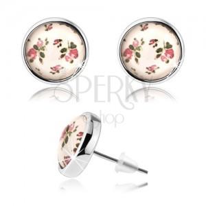 Kaboson fülbevaló, kidomborodó üveg, apró rózsák rózsasszín színben, zöld levelek
