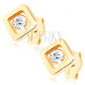 Fülbevaló 9K sárga aranyból - átlátszó cirkónia négyzet körvonalba helyezve