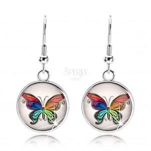 Cabochon fülbevaló, kidomborodó üveg, színes pillangó, fehér alap