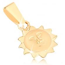 Medál sárga 9K aranyból - nap matt arccal és fényes sugarakkal