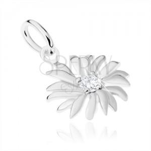 925 ezüst medál, virág, kis cirkónia a felület közepén
