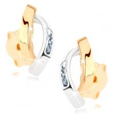 375 arany fülbevaló - két fényes félhold arany és ezüst színben, cirkóniák