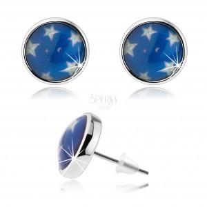 Cabochon fülbevaló, tiszta fénymáz, fehér csillagok, kék háttér, stekker