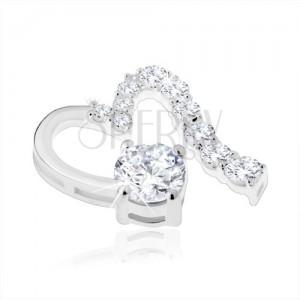 Medál 925 ezüstből, aszimmetrikus szív kontúr, átlátszó cirkónia, csillogó vonal