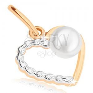 Kétszínű medál 9K aranyból - vékony kontúr szimmetrikus szív alakban, gyöngy