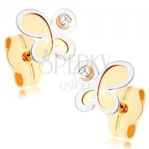 375 arany fülbevaló - kétszínű matt pillangó fényes szegéllyel, tiszta cirkónia