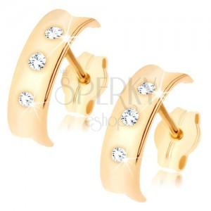 Fülbevaló sárga 9K aranyból - fényes félkör kimart középpel, három tiszta cirkónia