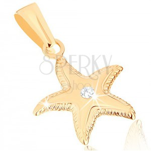 375 arany medál - ragyogó tengeri csillag, bordás szegély, tiszta cirkónia