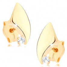 Fülbevaló sárga 9K aranyból - renszertelen háromszög, kerekített oldalak, cirkónia
