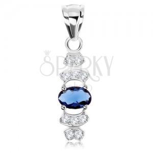 Medál, 925 ezüst, kék cirkónia - ovális, átlátszó cirkóniás vonalak - félholdak