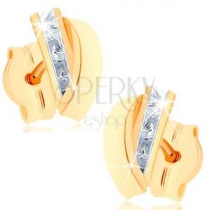 Bedugós fülbevaló 9K sárga aranyból - átlátszó cirkóniákból álló sáv, fényes félhold