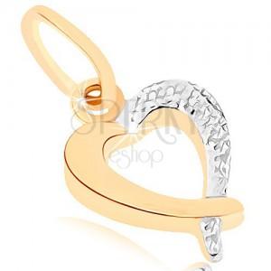 375 arany medál - csillogó szív kontúr, kétszínű kivitelezés