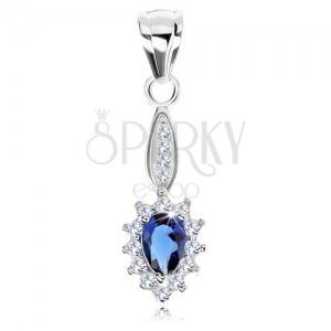 Medál 925 ezüstből, szűk ovális, kék cirkóniás könnycsepp, csillogó keret