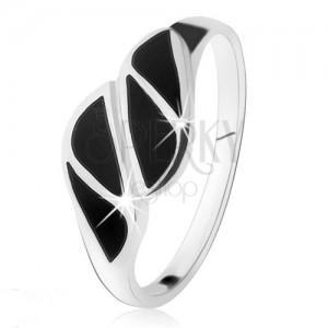 925 ezüst gyűrű, háromszögek fekete ónixból, magas fény