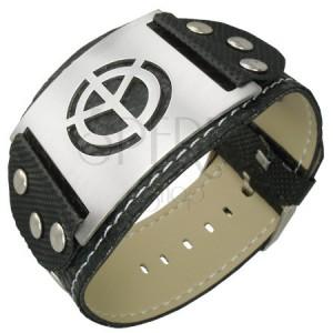 Fekete csuklópánt gumiból - béke szimbólum