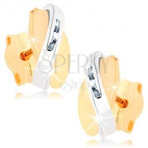 Kétszínű fülbevaló 9K aranyból - egymást fedő félholdak, átlátszó cirkóniák