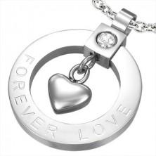 Acél medál - karika, szív, cirkónia, FOREVER LOVE felirat