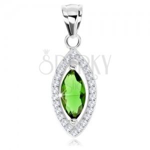 Medál, 925 ezüst, cirkóniás magszem zöld színben, csillogó keret