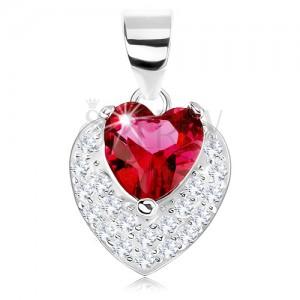 Medál 925 ezüstből, csillogó kidomborodó szívecske, piros szív alakú cirkónia