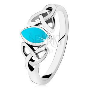 925 ezüst gyűrű, türkiz magszem, összekapcsolt ovális körvonalak