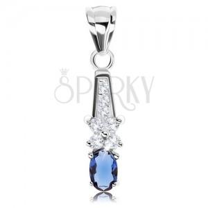 925 ezüst medál, ovális kék cirkónia, átlátszó kövekből álló virág