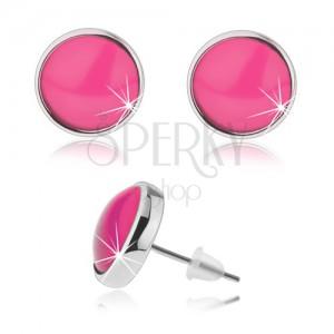 Kerek bedugós fülbevaló, átlátszó domború rózsaszín üveg, kaboson