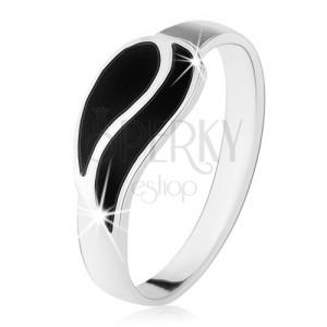 Gyűrű 925 ezüstből, két hullám fekete ónixból, magas fény