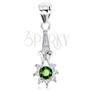 Medál 925 ezüstből, cirkóniás virág - zöld közép, átlátszó szirmok